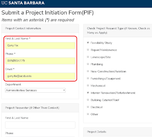 screen shot of Project Initiation Form