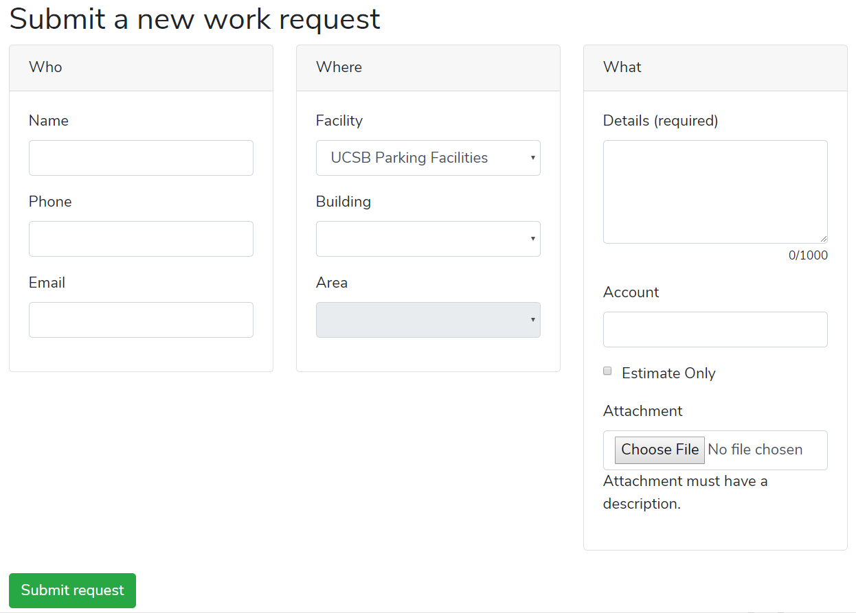 submit a new work request